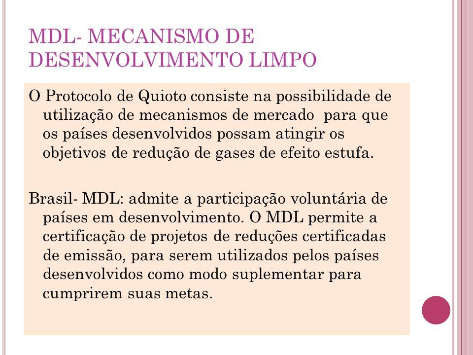 MDL- MECANISMO DE DESENVOLVIMENTO LIMPO O Protocolo de Quioto consiste na possibilidade de utilização de mecanismos de mercado para que os países dese