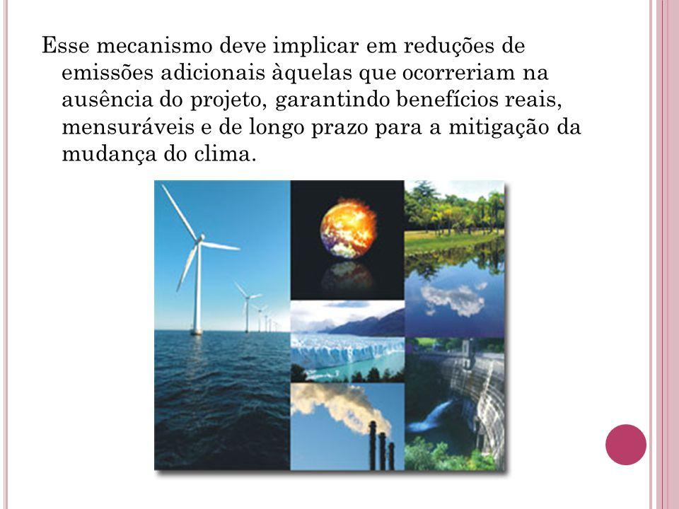 Esse mecanismo deve implicar em reduções de emissões adicionais àquelas que ocorreriam na ausência do projeto, garantindo benefícios reais, mensurávei
