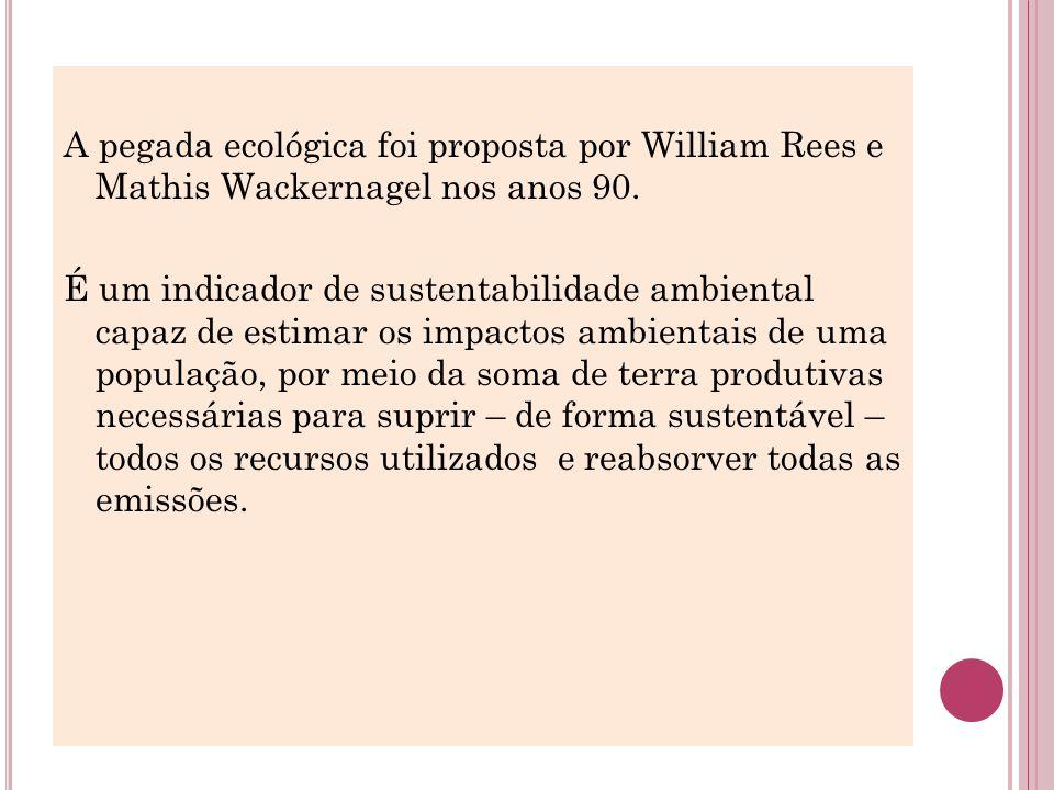 A pegada ecológica foi proposta por William Rees e Mathis Wackernagel nos anos 90. É um indicador de sustentabilidade ambiental capaz de estimar os im