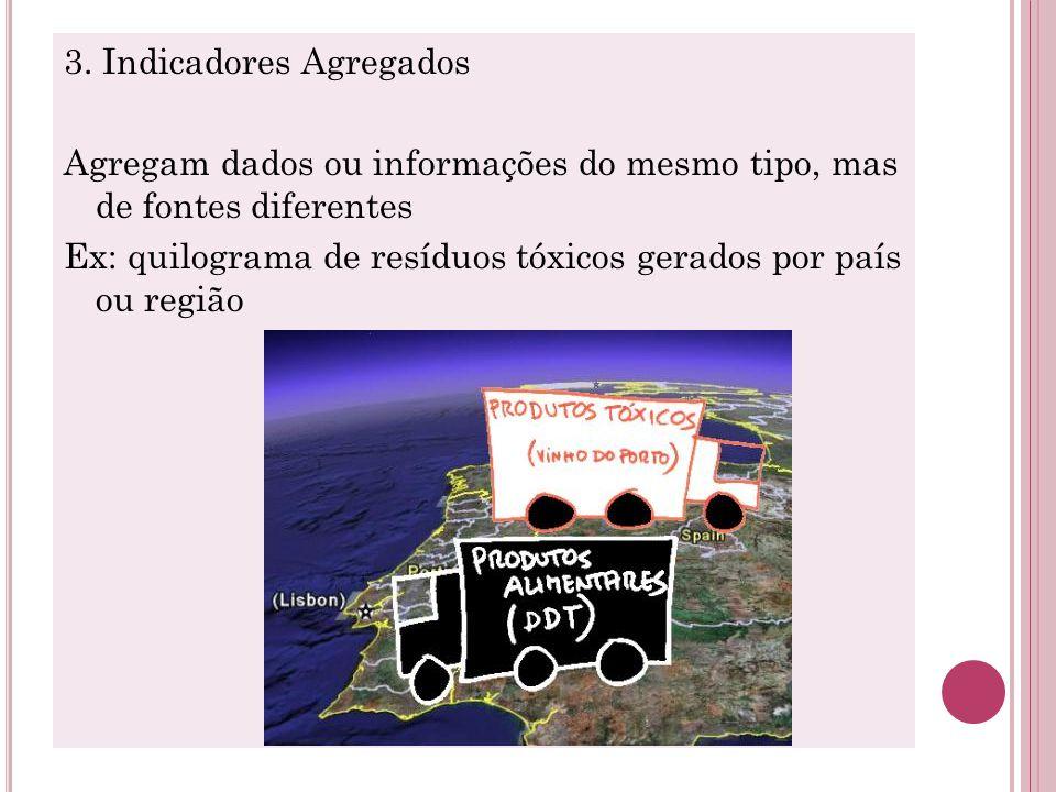 3. Indicadores Agregados Agregam dados ou informações do mesmo tipo, mas de fontes diferentes Ex: quilograma de resíduos tóxicos gerados por país ou r