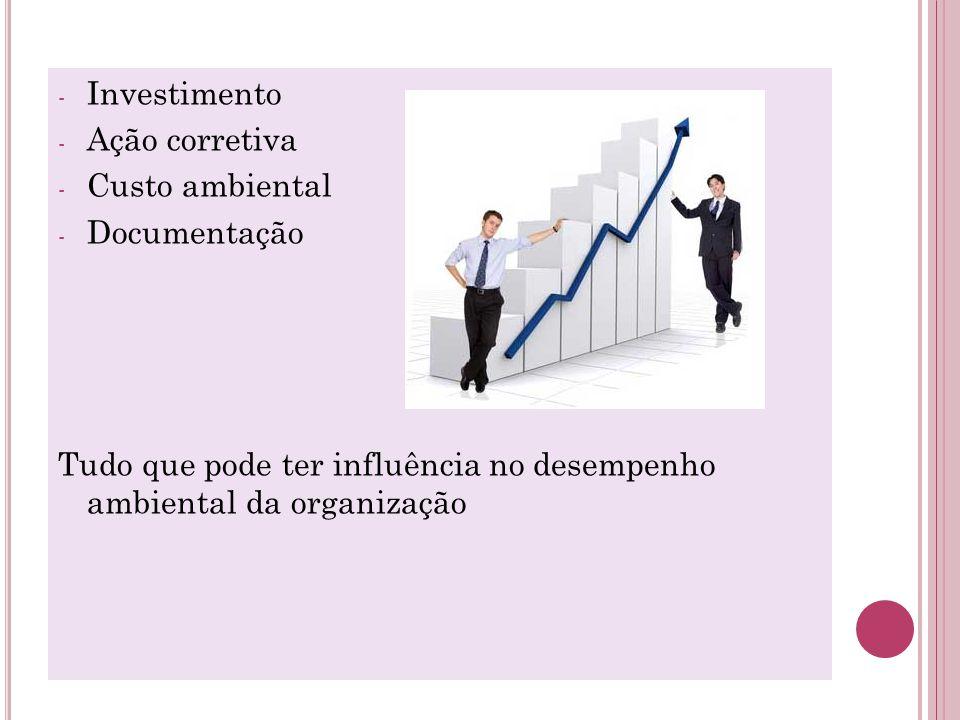 - Investimento - Ação corretiva - Custo ambiental - Documentação Tudo que pode ter influência no desempenho ambiental da organização