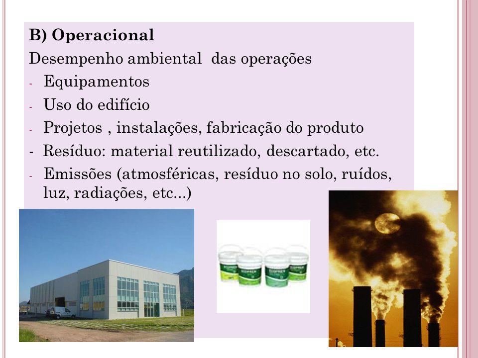 B) Operacional Desempenho ambiental das operações - Equipamentos - Uso do edifício - Projetos, instalações, fabricação do produto - Resíduo: material