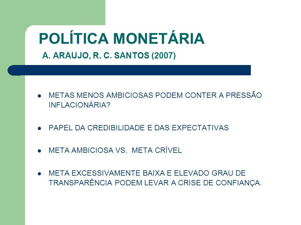 POLÍTICA MONETÁRIA A. ARAUJO, R. C. SANTOS (2007) METAS MENOS AMBICIOSAS PODEM CONTER A PRESSÃO INFLACIONÁRIA? PAPEL DA CREDIBILIDADE E DAS EXPECTATIV