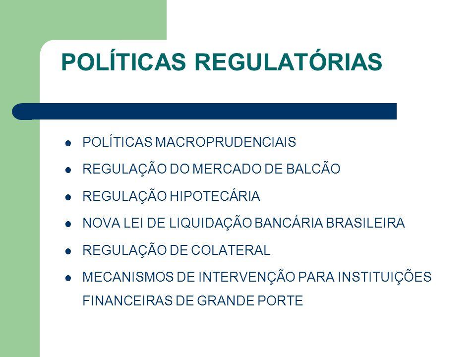 POLÍTICAS REGULATÓRIAS POLÍTICAS MACROPRUDENCIAIS REGULAÇÃO DO MERCADO DE BALCÃO REGULAÇÃO HIPOTECÁRIA NOVA LEI DE LIQUIDAÇÃO BANCÁRIA BRASILEIRA REGU