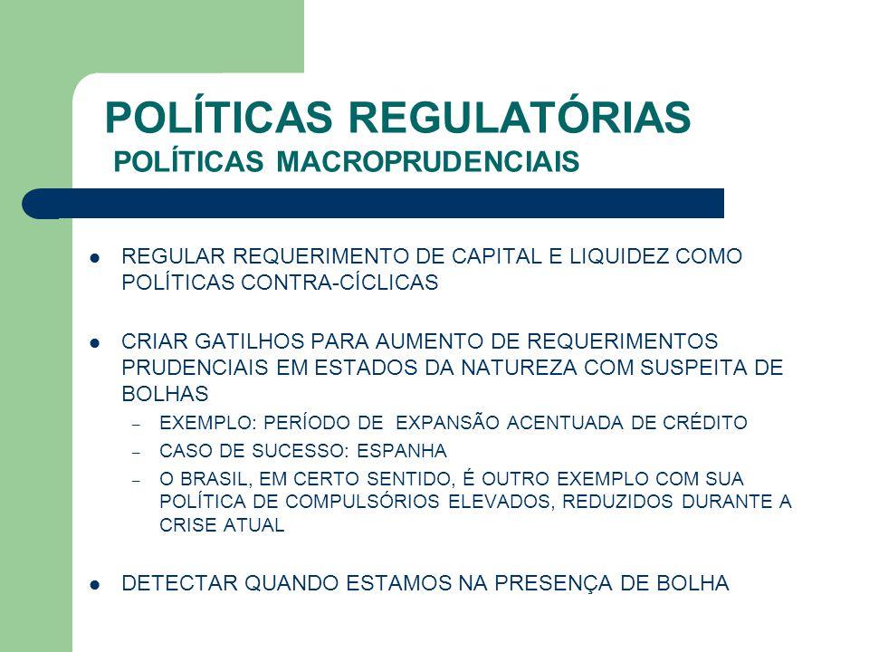 POLÍTICAS REGULATÓRIAS POLÍTICAS MACROPRUDENCIAIS REGULAR REQUERIMENTO DE CAPITAL E LIQUIDEZ COMO POLÍTICAS CONTRA-CÍCLICAS CRIAR GATILHOS PARA AUMENT