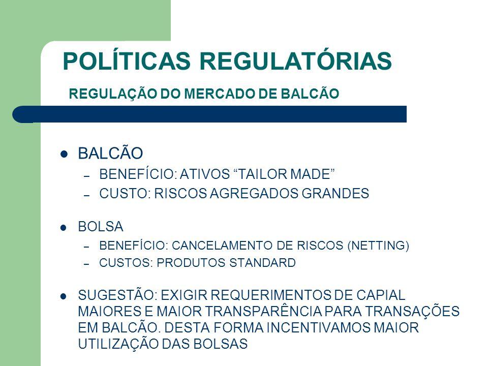 """POLÍTICAS REGULATÓRIAS REGULAÇÃO DO MERCADO DE BALCÃO BALCÃO – BENEFÍCIO: ATIVOS """"TAILOR MADE"""" – CUSTO: RISCOS AGREGADOS GRANDES BOLSA – BENEFÍCIO: CA"""
