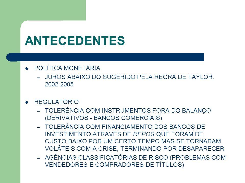 ANTECEDENTES FINANÇAS CORPORATIVAS – EXECUTIVOS FINACEIROS SUBESTIMARAM RISCOS DE PORTIFÓLIO PROPOSITALMENTE (?), CAUSANDO PROBLEMAS AOS ACIONISTAS DOS BANCOS E CREDORES – DIFICULDADE DE DISCIPLINAR OS EXECUTIVOS: É DIFÍCIL FAZER UM TAKE OVER DE BANCO DEVIDO A RESTRIÇÕES SOBRE PROPRIEDADE DE BANCOS (BANK ACT) E À ENTRADA NO RAMO PRESSÃO POLÍTICA – CONGRESSISTAS INTERFERIRAM PARA ACESSO DAS CAMADAS MAIS POBRES AO FINANCIAMENTO HABITACIONAL, RELAXANDO AS POLÍTICAS DA FANNIE MAE E FREDDIE MAC, FHA, ETC.