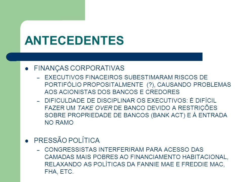 POLÍTICAS REGULATÓRIAS REGULAÇÃO HIPOTECÁRIA INCLUSÃO DAS HIPOTECAS DE FORMA A DETERMINAR A DIMINUIÇÃO DO VALOR PRINCIPAL STRIP DOWN MAU ESTADO DA NATUREZA VERSUS RISCO MORAL PERMISSÃO PARA MAIOR ALAVANCAGEM DOS INVESTIDORES (M.