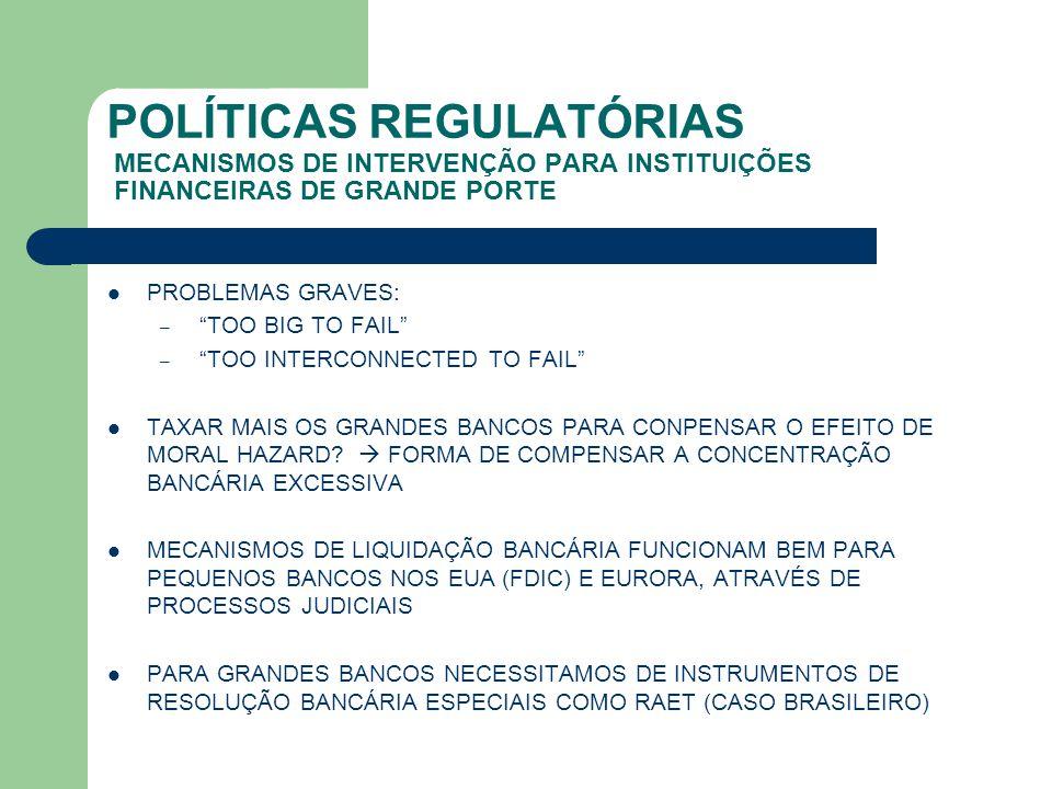 """POLÍTICAS REGULATÓRIAS MECANISMOS DE INTERVENÇÃO PARA INSTITUIÇÕES FINANCEIRAS DE GRANDE PORTE PROBLEMAS GRAVES: – """"TOO BIG TO FAIL"""" – """"TOO INTERCONNE"""