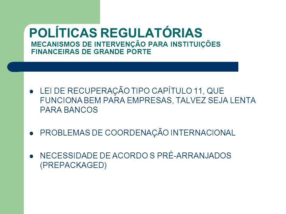 POLÍTICAS REGULATÓRIAS MECANISMOS DE INTERVENÇÃO PARA INSTITUIÇÕES FINANCEIRAS DE GRANDE PORTE LEI DE RECUPERAÇÃO TIPO CAPÍTULO 11, QUE FUNCIONA BEM P