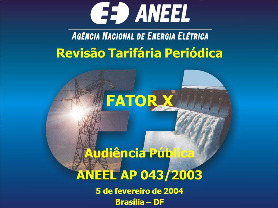 Revisão Tarifária Periódica FATOR X Audiência Pública ANEEL AP 043/2003 5 de fevereiro de 2004 Brasília – DF