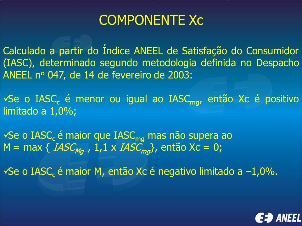 COMPONENTE Xc Calculado a partir do Índice ANEEL de Satisfação do Consumidor (IASC), determinado segundo metodologia definida no Despacho ANEEL n o 04