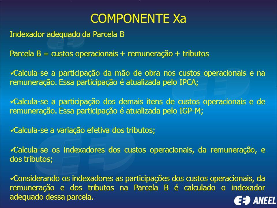 COMPONENTE Xa Indexador adequado da Parcela B Parcela B = custos operacionais + remuneração + tributos Calcula-se a participação da mão de obra nos cu