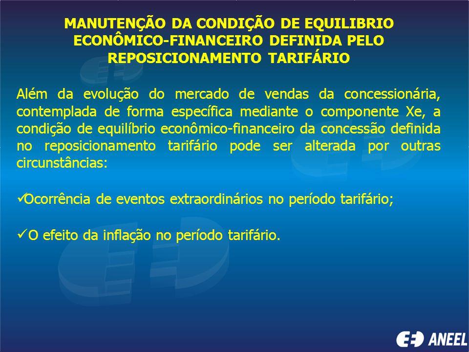 MANUTENÇÃO DA CONDIÇÃO DE EQUILIBRIO ECONÔMICO-FINANCEIRO DEFINIDA PELO REPOSICIONAMENTO TARIFÁRIO Além da evolução do mercado de vendas da concession