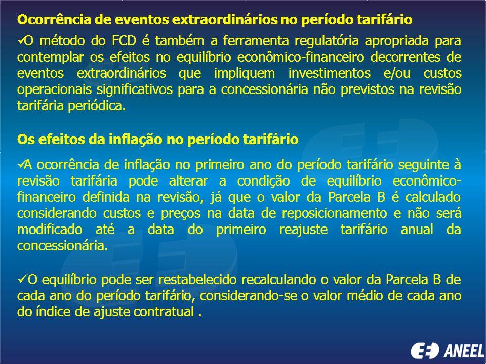 Ocorrência de eventos extraordinários no período tarifário O método do FCD é também a ferramenta regulatória apropriada para contemplar os efeitos no
