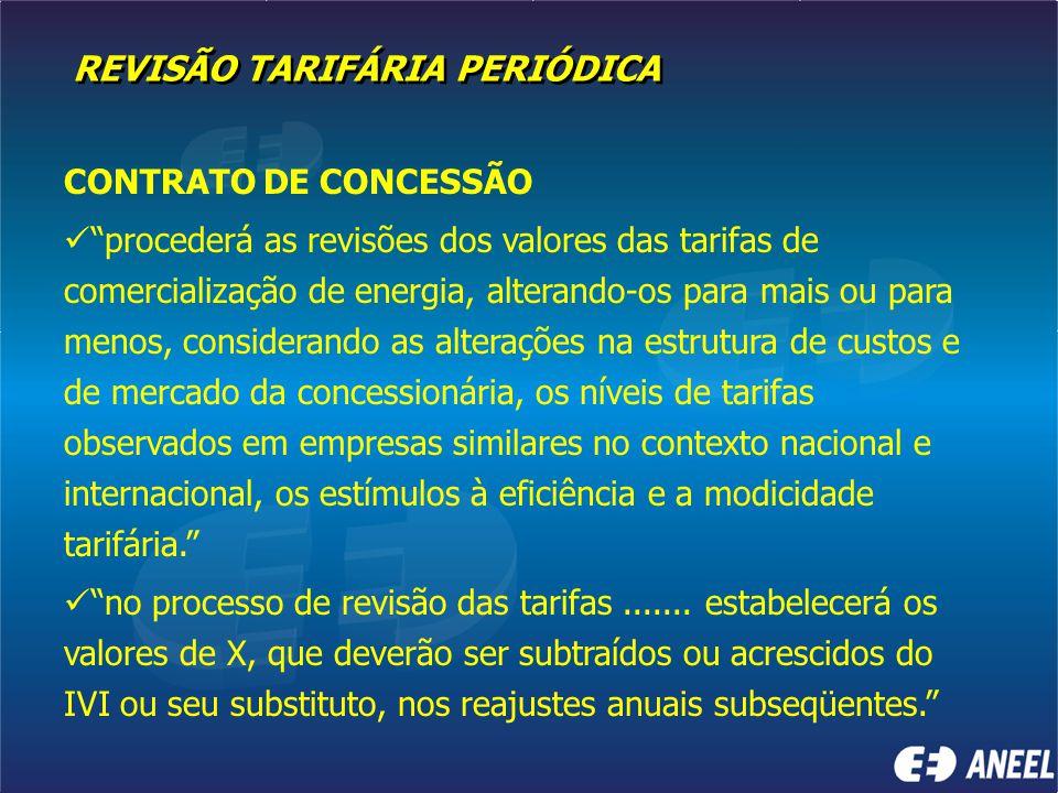 """REVISÃO TARIFÁRIA PERIÓDICA CONTRATO DE CONCESSÃO """"procederá as revisões dos valores das tarifas de comercialização de energia, alterando-os para mais"""