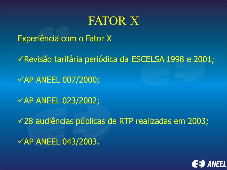 FATOR X Experiência com o Fator X Revisão tarifária periódica da ESCELSA 1998 e 2001; AP ANEEL 007/2000; AP ANEEL 023/2002; 28 audiências públicas de