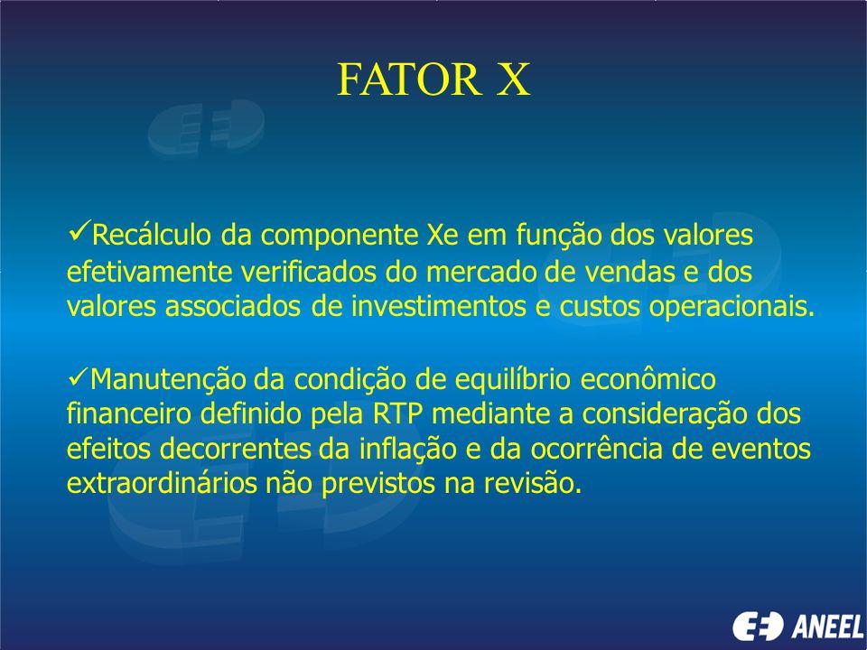 FATOR X Recálculo da componente Xe em função dos valores efetivamente verificados do mercado de vendas e dos valores associados de investimentos e cus