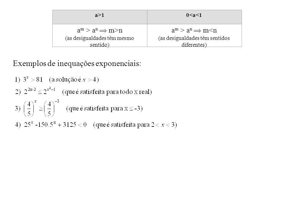a>10<a<1 a m > a n  m>n (as desigualdades têm mesmo sentido) a m > a n  m<n (as desigualdades têm sentidos diferentes) Exemplos de inequações expone