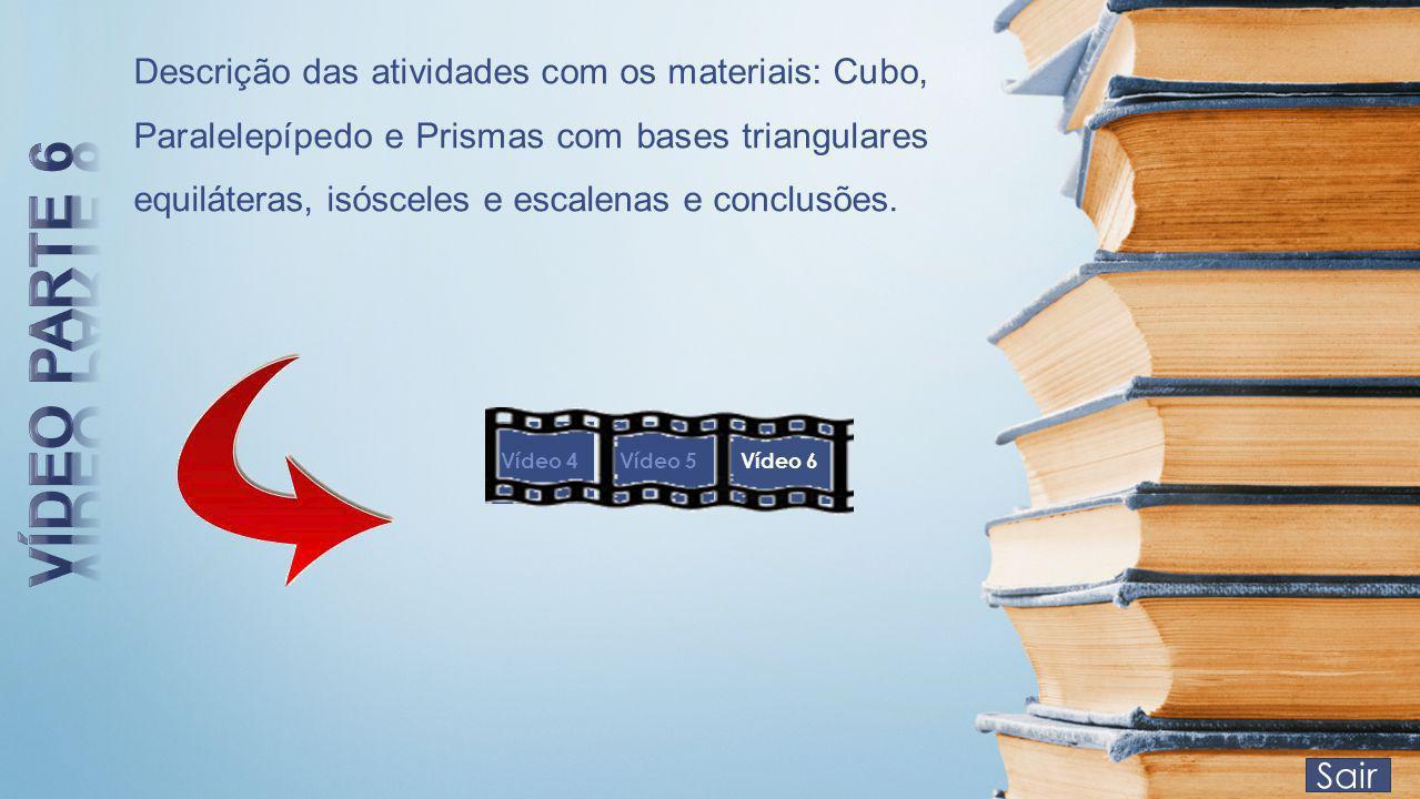 Sair Descrição das atividades com os materiais: Cubo, Paralelepípedo e Prismas com bases triangulares equiláteras, isósceles e escalenas e conclusões.