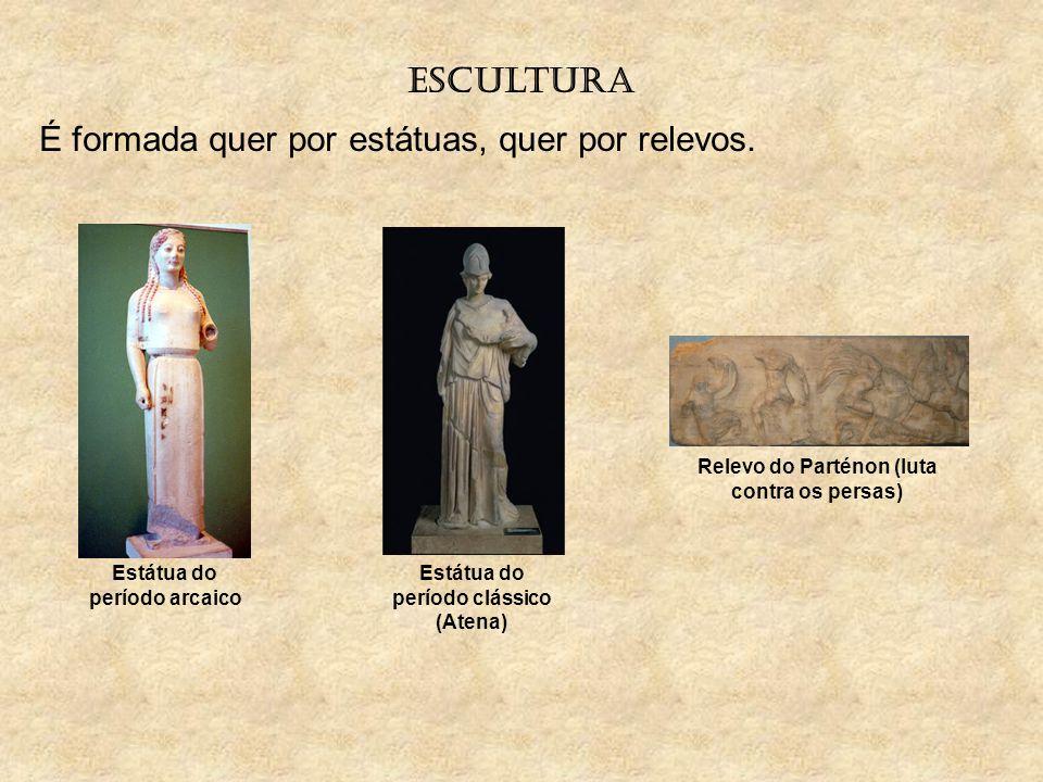 escultura É formada quer por estátuas, quer por relevos. Estátua do período arcaico Estátua do período clássico (Atena) Relevo do Parténon (luta contr
