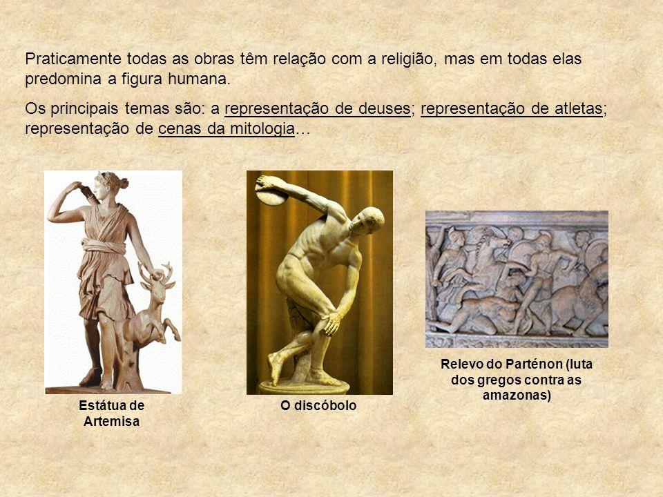 Praticamente todas as obras têm relação com a religião, mas em todas elas predomina a figura humana. Os principais temas são: a representação de deuse