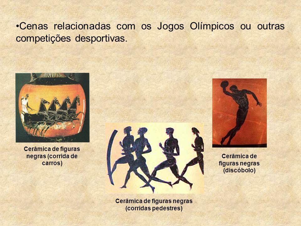 Cenas relacionadas com os Jogos Olímpicos ou outras competições desportivas. Cerâmica de figuras negras (corrida de carros) Cerâmica de figuras negras