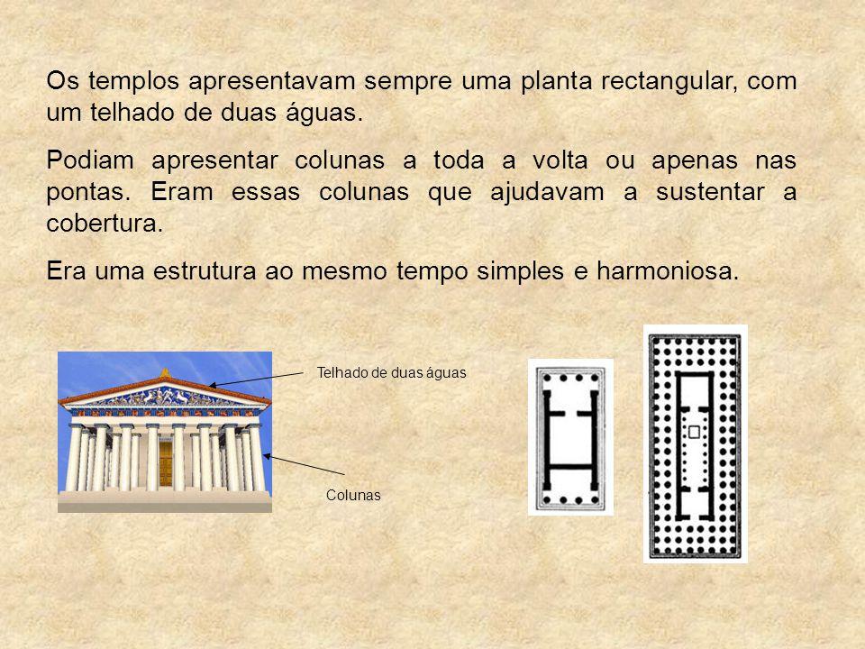 Os templos apresentavam sempre uma planta rectangular, com um telhado de duas águas. Podiam apresentar colunas a toda a volta ou apenas nas pontas. Er