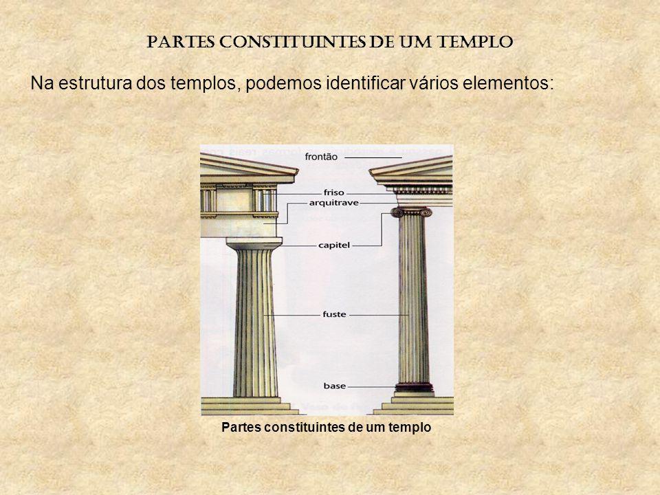 PARTES CONSTITUINTES DE UM TEMPLO Partes constituintes de um templo Na estrutura dos templos, podemos identificar vários elementos: