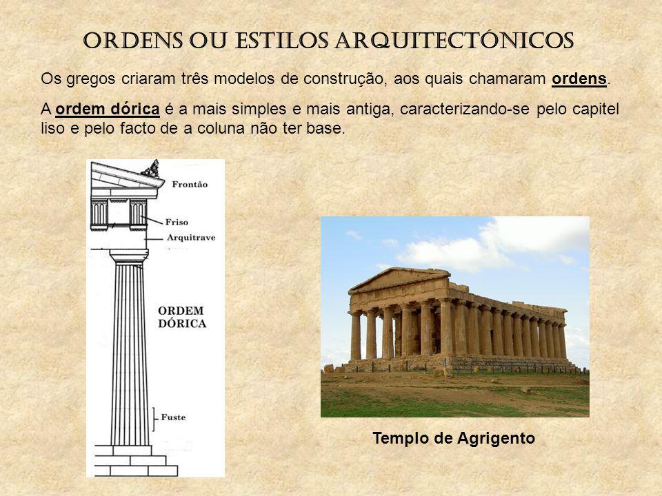 Ordens ou estilos arquitectónicos Os gregos criaram três modelos de construção, aos quais chamaram ordens. A ordem dórica é a mais simples e mais anti