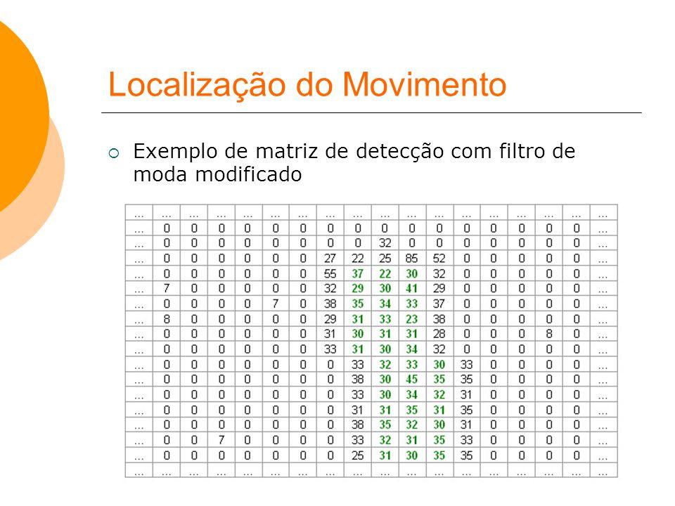 Localização do Movimento  Exemplo de matriz de detecção com filtro de moda modificado