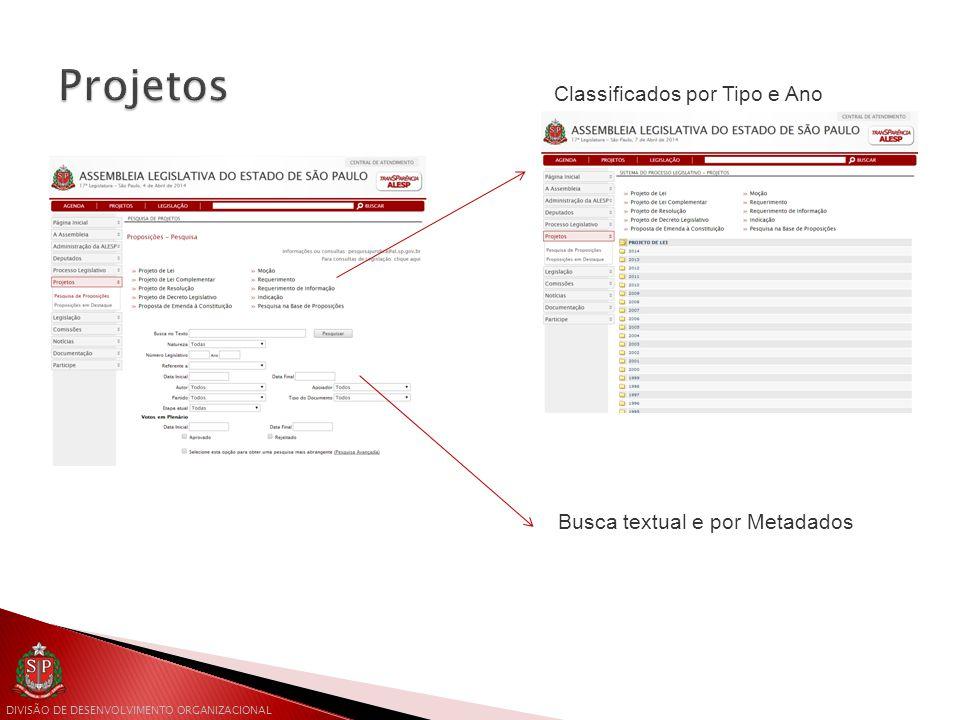 DIVISÃO DE DESENVOLVIMENTO ORGANIZACIONAL Classificados por Tipo e Ano Busca textual e por Metadados