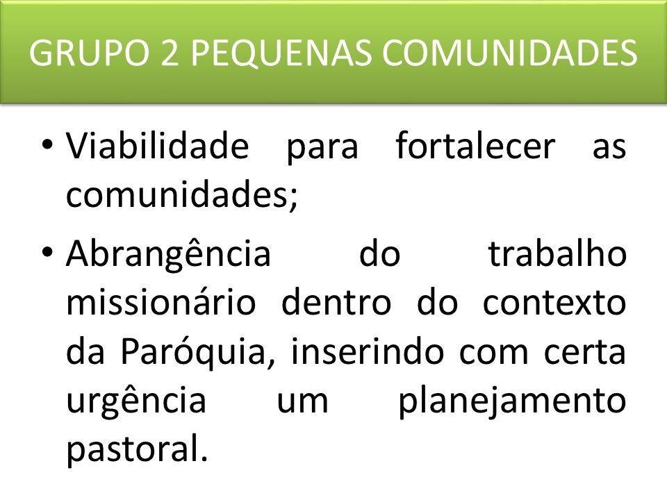 GRUPO 3 MINISTÉRIOS LEIGOS Formações que despertem lideranças para que possa criar um sentimento de comunidade unida e de serviço; Curso de Teologia para leigos.