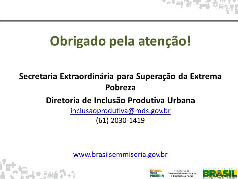 Mapa da Pobreza Obrigado pela atenção! Secretaria Extraordinária para Superação da Extrema Pobreza Diretoria de Inclusão Produtiva Urbana inclusaoprod