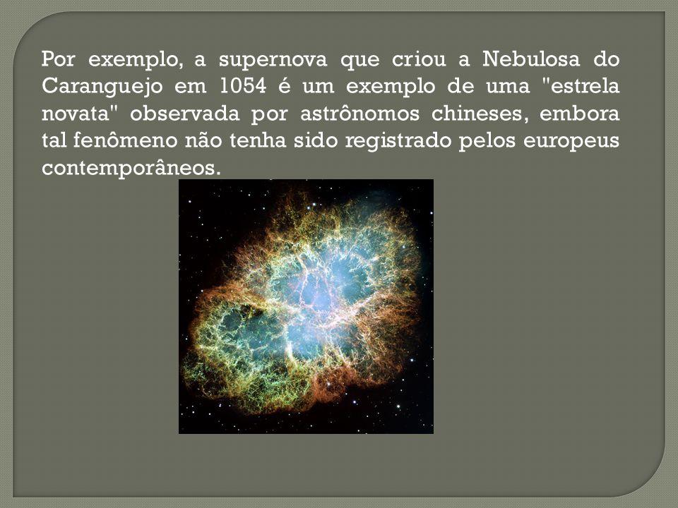 Por exemplo, a supernova que criou a Nebulosa do Caranguejo em 1054 é um exemplo de uma