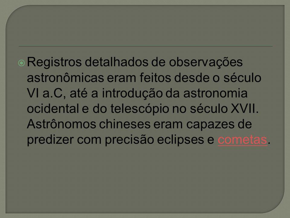  Registros detalhados de observações astronômicas eram feitos desde o século VI a.C, até a introdução da astronomia ocidental e do telescópio no sécu