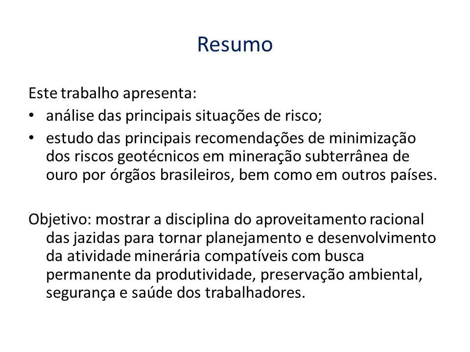 Resumo Este trabalho apresenta: análise das principais situações de risco; estudo das principais recomendações de minimização dos riscos geotécnicos em mineração subterrânea de ouro por órgãos brasileiros, bem como em outros países.