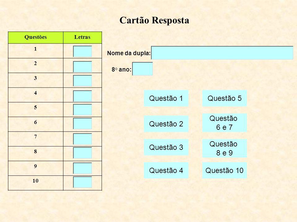 Nome da dupla: Cartão Resposta QuestõesLetras 1 2 3 4 5 6 7 8 9 10 8° ano: Questão 1 Questão 2 Questão 3 Questão 4 Questão 5 Questão 10 Questão 8 e 9