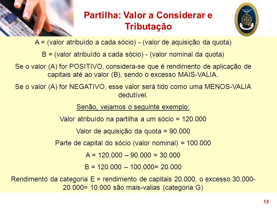 13 Partilha: Valor a Considerar e Tributação A = (valor atribuído a cada sócio) - (valor de aquisição da quota) B = (valor atribuído a cada sócio) - (
