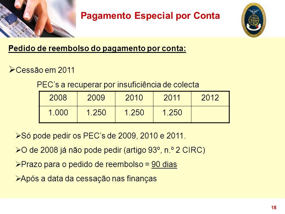 18 Pagamento Especial por Conta Pedido de reembolso do pagamento por conta:  Cessão em 2011 PEC's a recuperar por insuficiência de colecta 2008200920