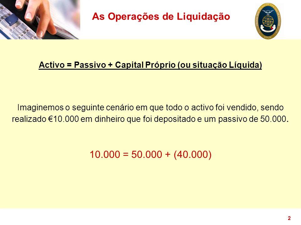 2 As Operações de Liquidação Activo = Passivo + Capital Próprio (ou situação Líquida) Imaginemos o seguinte cenário em que todo o activo foi vendido,