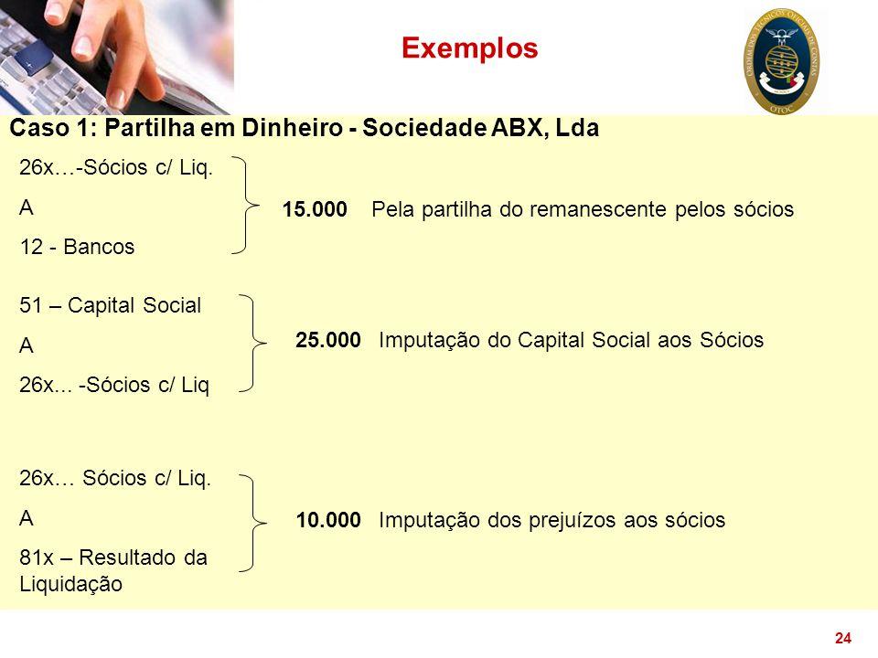 24 Exemplos Caso 1: Partilha em Dinheiro - Sociedade ABX, Lda 26x…-Sócios c/ Liq. A 12 - Bancos 15.000Pela partilha do remanescente pelos sócios 51 –