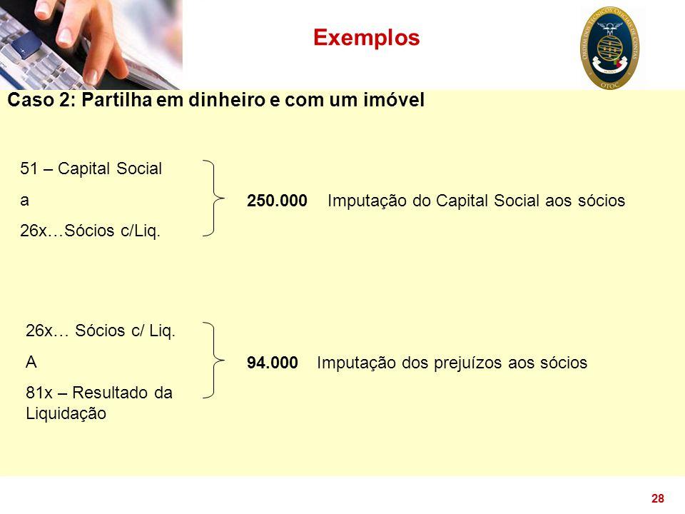28 Exemplos Caso 2: Partilha em dinheiro e com um imóvel 51 – Capital Social a 26x…Sócios c/Liq. 250.000 Imputação dos prejuízos aos sócios 26x… Sócio