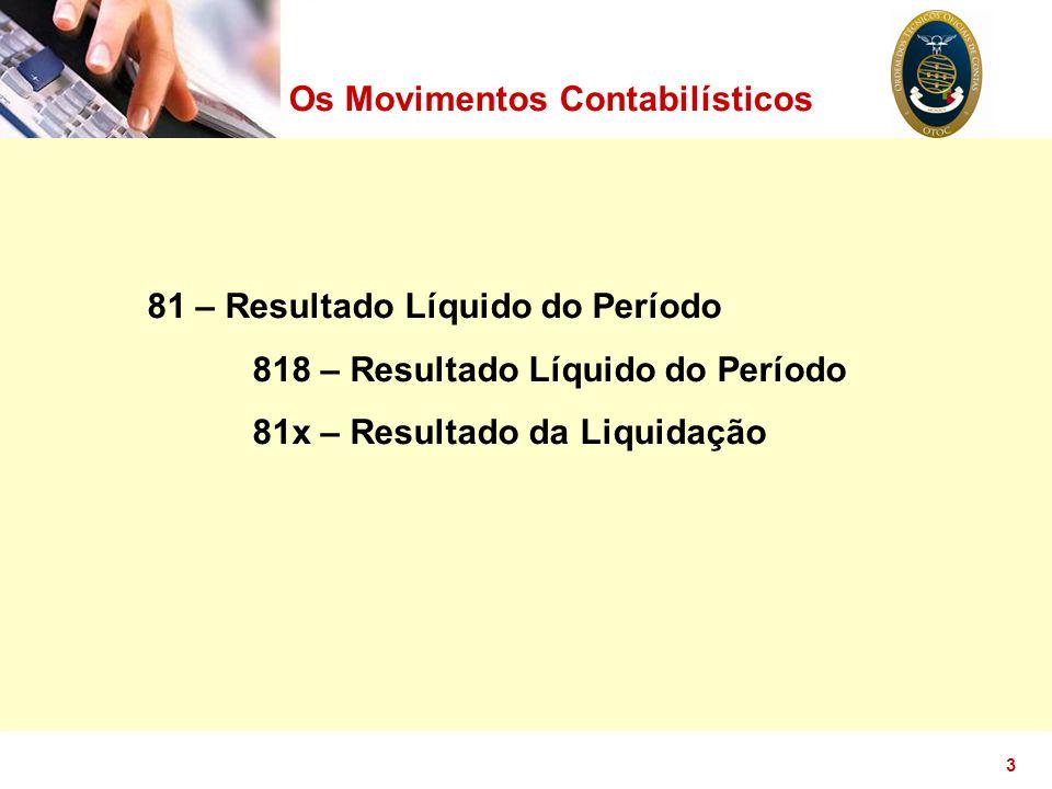 3 Os Movimentos Contabilísticos 81 – Resultado Líquido do Período 818 – Resultado Líquido do Período 81x – Resultado da Liquidação