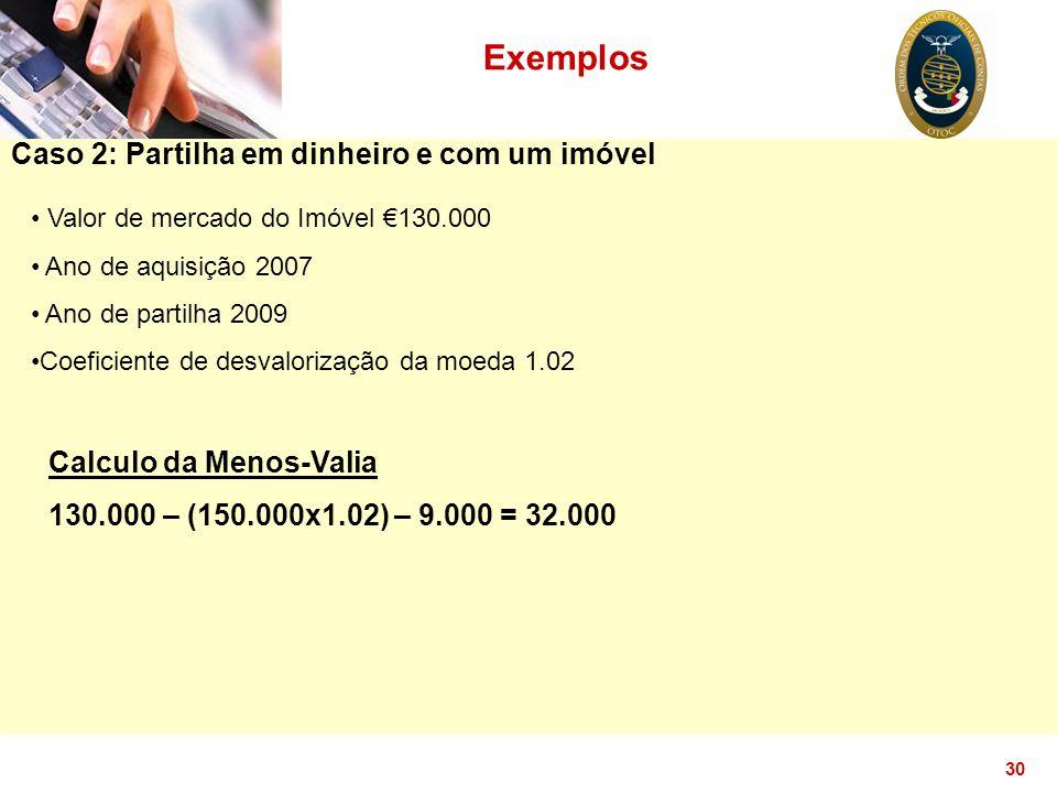 30 Exemplos Caso 2: Partilha em dinheiro e com um imóvel Valor de mercado do Imóvel €130.000 Ano de aquisição 2007 Ano de partilha 2009 Coeficiente de