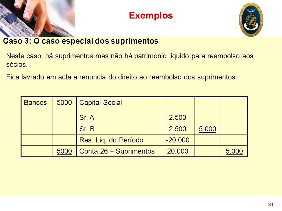 31 Caso 3: O caso especial dos suprimentos Exemplos Neste caso, há suprimentos mas não há património liquido para reembolso aos sócios. Fica lavrado e