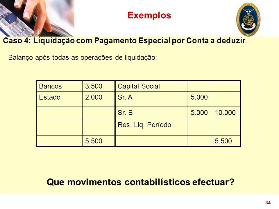 34 Caso 4: Liquidação com Pagamento Especial por Conta a deduzir Exemplos Balanço após todas as operações de liquidação: Bancos3.500Capital Social Est