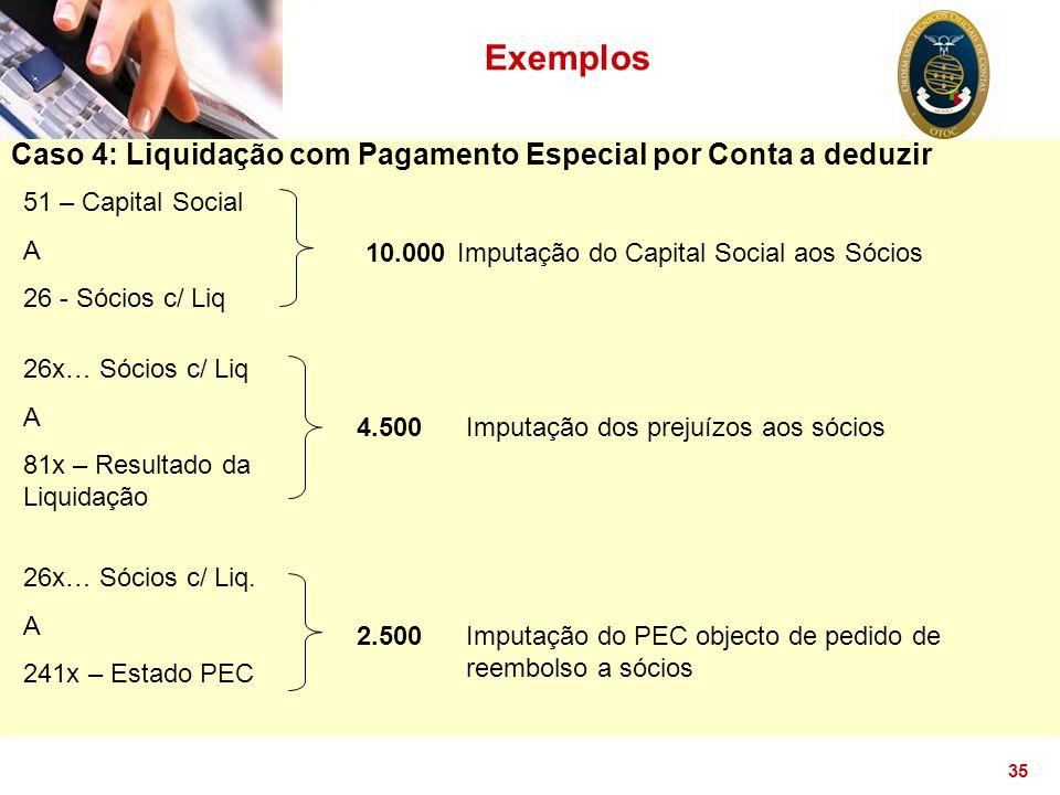 35 Exemplos Caso 4: Liquidação com Pagamento Especial por Conta a deduzir 51 – Capital Social A 26 - Sócios c/ Liq 10.000Imputação do Capital Social a