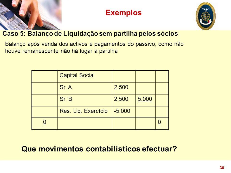 36 Exemplos Caso 5: Balanço de Liquidação sem partilha pelos sócios Balanço após venda dos activos e pagamentos do passivo, como não houve remanescent