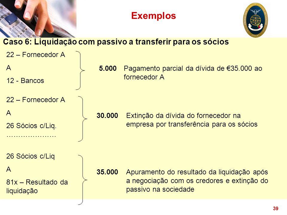 39 Exemplos Caso 6: Liquidação com passivo a transferir para os sócios 22 – Fornecedor A A 12 - Bancos 5.000Pagamento parcial da dívida de €35.000 ao